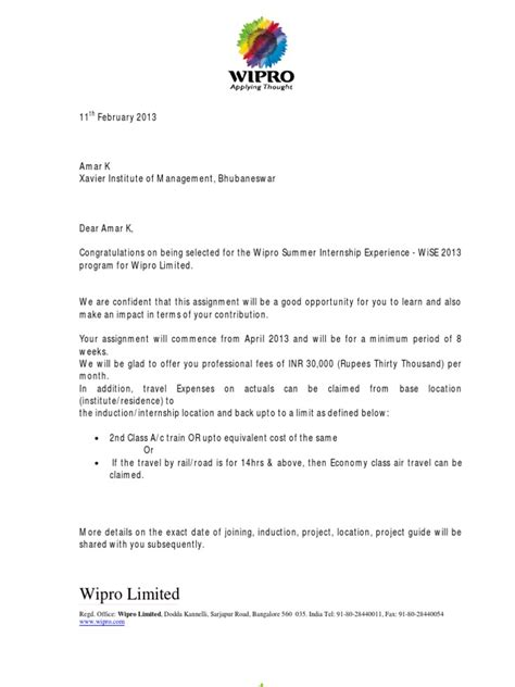 wipro offer letter business