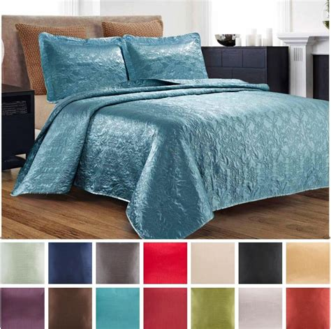 Quilted Coverlet Set by 3 Silky Satin Quilted Bedspread Coverlet Set King