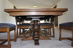 1928 Oak Carved Spanish Gothic Period Dining Suite For