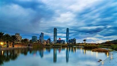 Chile Santiago Cities Rivers Evening Houses Sky
