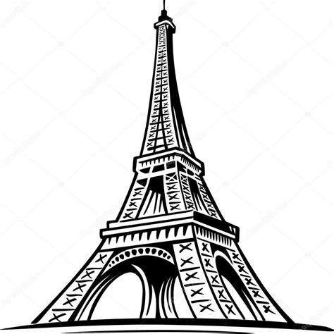 hand drawn eiffel tower paris france stock vector