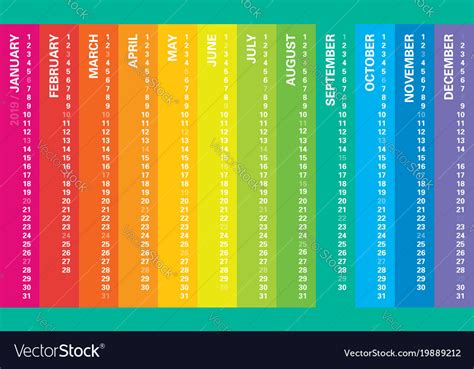 Creative Calendar 2019 Rainbow Design Royalty Free Vector