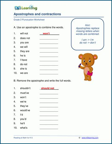 apostrophes  contractions worksheets  learning