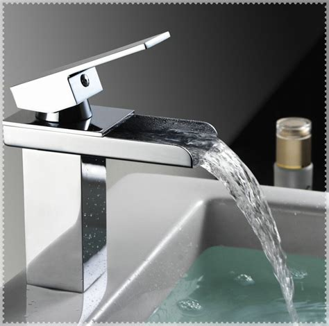 waterfall bathroom faucet chrome yodel waterfall faucets for clear glass basin bathroom