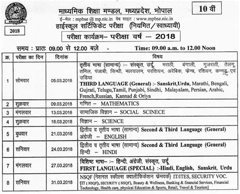 Mp Board 10th Time Table 20182019 Download Here All