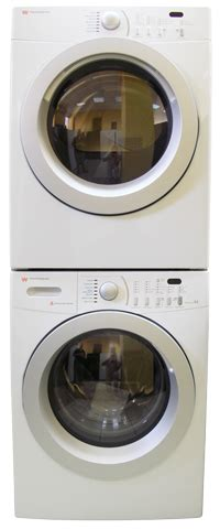 white westinghouse wlf125ezhs wde775nzhs stackkit7 by electrolux washer dryer 220 volt
