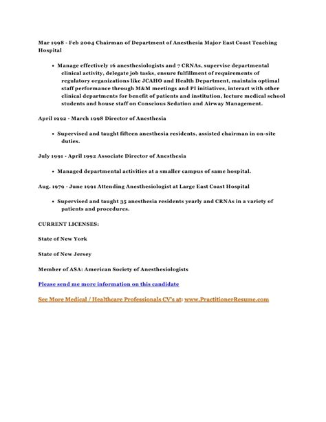 Anesthesiologist Resumeanesthesiologist Resume by Resume Cv Candidate 10001 M D Mba Board Certified