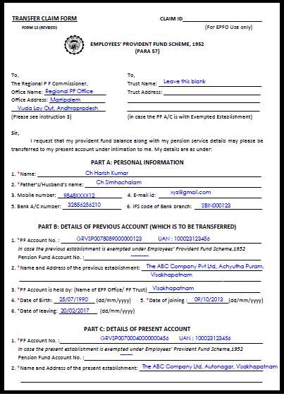 sle filled epf transfer form 13 pf sle knowledge names resume