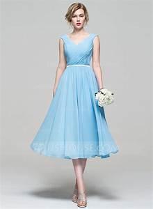 A LinePrincess V Neck Tea Length Chiffon Bridesmaid Dress