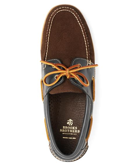 Brooks Brothers Boat Shoes by Brooks Brothers Suede And Leather Boat Shoes In Brown For