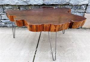 hand crafted big round coffee table live edge slab table With round wood slab coffee table