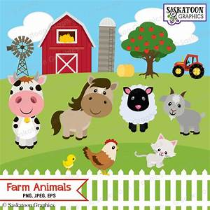 Cute Farm Animals Clipart Instant Download File Digital