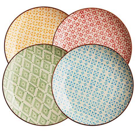 Geschirr Landhausstil Bunt by Living Keramik Teller Set Retro 4 Tlg Bunt Keramik