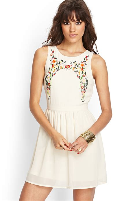 floral embroidered a line dress forever 21 embroidered floral a line dress in beige