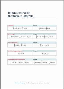 Integrale Berechnen Aufgaben : integrationsregeln f r bestimmte integrale spickzettel ~ Themetempest.com Abrechnung