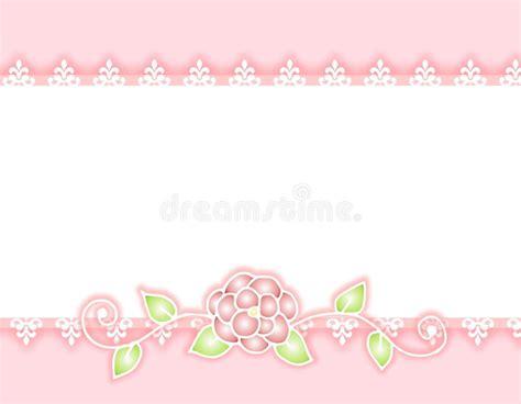 White Lace Pink Ribbon And Rose Border Stock Illustration