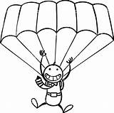 Parachute Clipart Coloring Vector sketch template