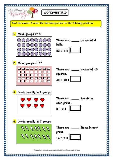 grade  maths worksheets division  division