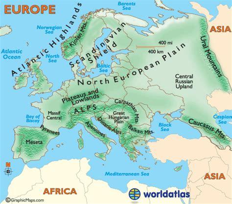 europe landforms and land statistics europe landforms