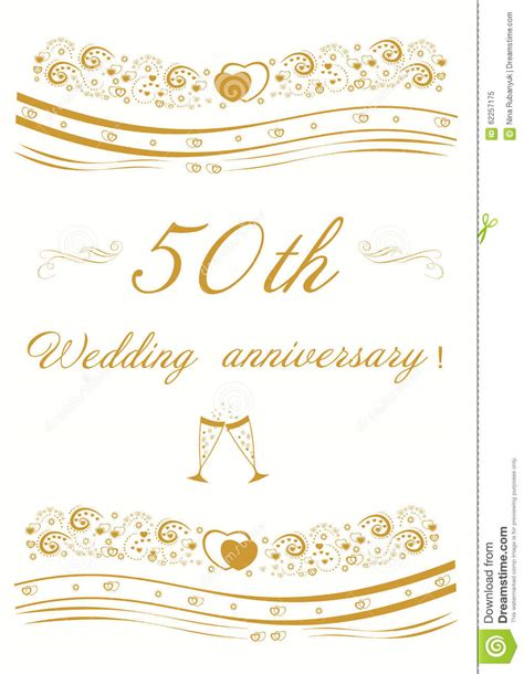 50th Wedding Anniversary Invitation Illustration Stock