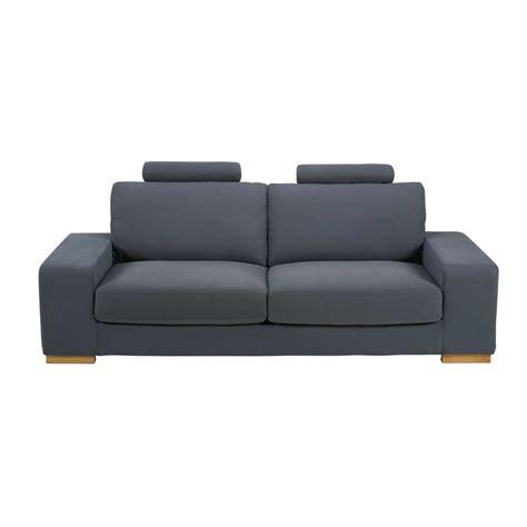 canapé gris foncé canapé convertible avec têtières 3 places en tissu gris
