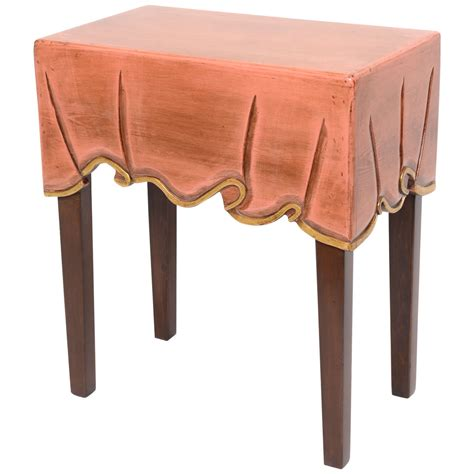 Decorative Table Cloth Clad Wood Side Table For Sale At