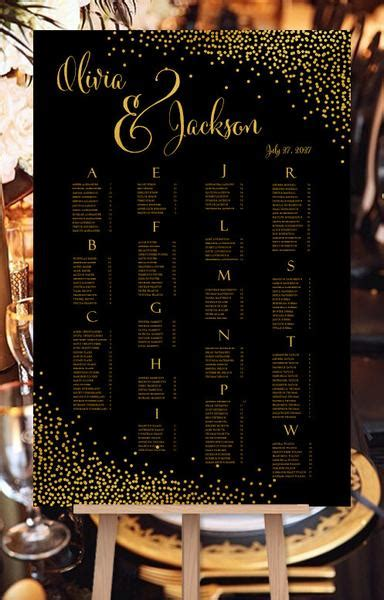 wedding seating chart poster reception table plan page