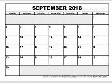 September 2018 Calendar Cute yearly printable calendar