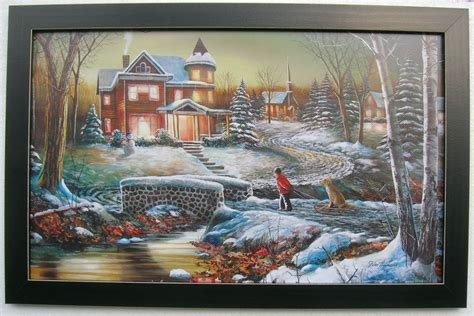 Jim Hansel Snow Prints Large Framed Country Pictures