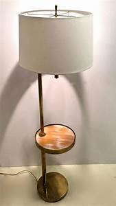 Mid century brass floor lamp with swivel cerused wood for Mid century floor lamp with tray