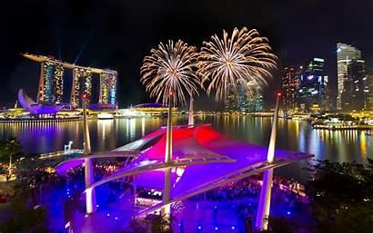 Singapore Marina Bay Sands Night Fireworks Water