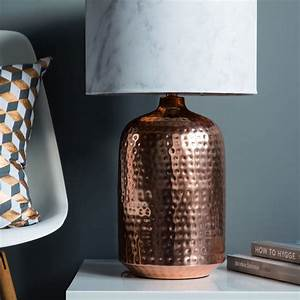 Copper hammered pot table lamp base by quirk for Hammered gold floor lamp