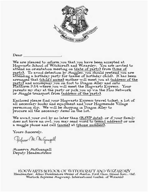harry potter acceptance letter template google search