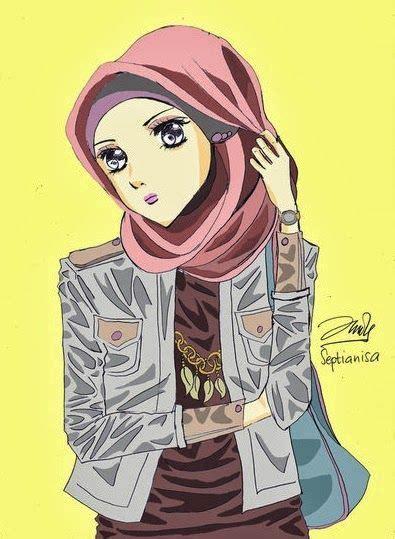 gambar kartun cewek cantik berjilbab gambar kartun gadis