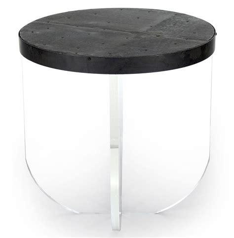 round plexiglass table top blaine modern acrylic zinc top round side table kathy