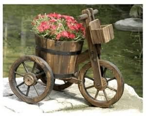 tricycle garden planters and wheelbarrow planter carts