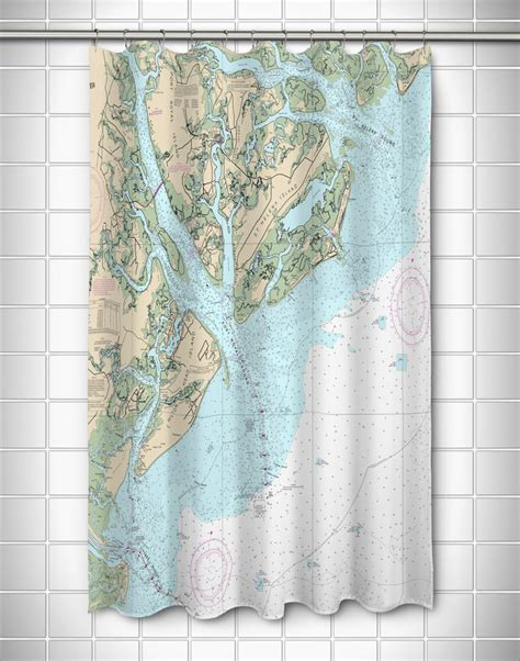 nautical shower curtain sc island sc nautical chart shower curtain