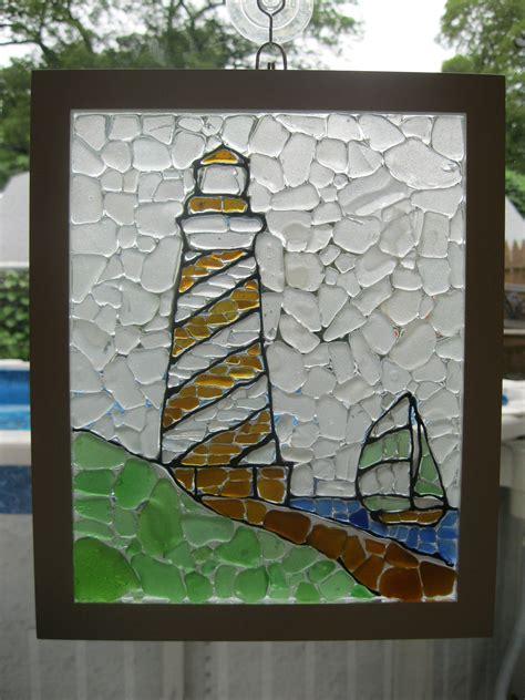 and glass mosaic lighthouse sea glass mosaic