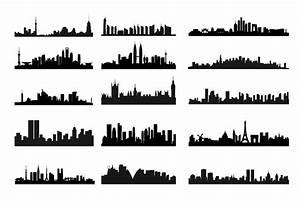 City Skyline Landscape Silhouette Vector Set   Free Vector ...