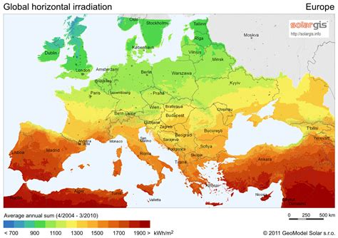 european saily solar insolation map
