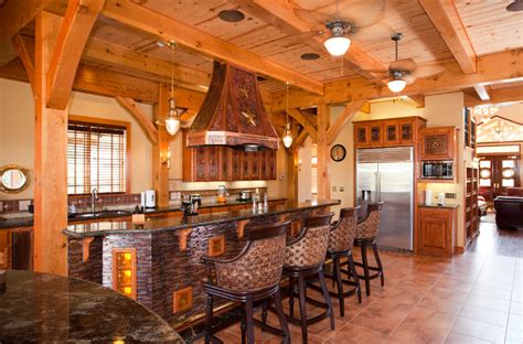 nautical themed timber frame home rustic kitchen austin  texas timber frames