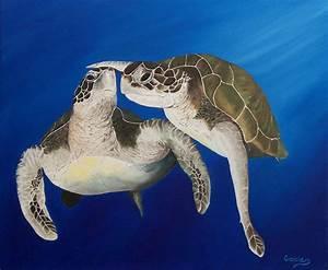 "Original Oil Painting, Sea Turtle, Clown Fish - ""The ..."