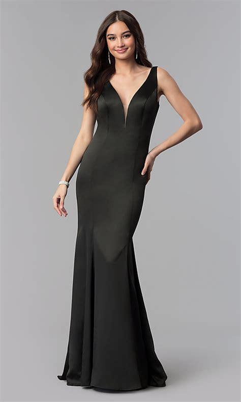 Satin Long V-Neck Open-Back Prom Dress - PromGirl