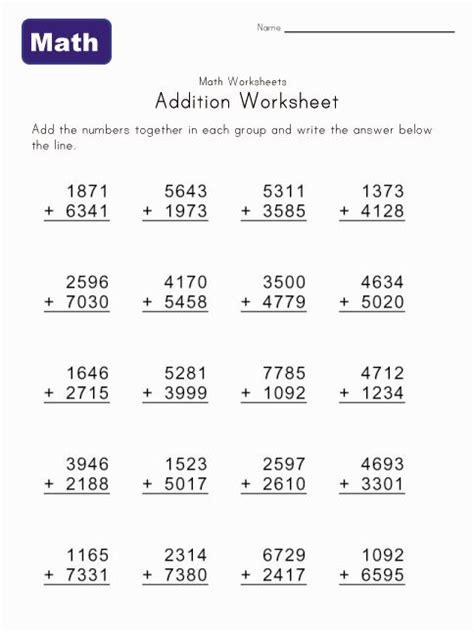 4 digits addition with decimals 2 3 4 digit addition worksheet 3 digit 4 addend addition