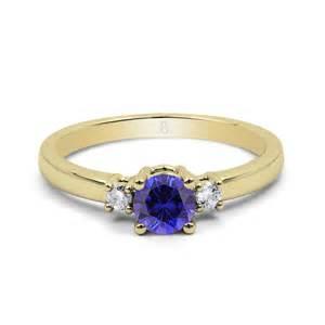 verlobungsring blauer stein echter 18ct gelbgold blauer saphir diamant 3 stein verlobungs ring 2mm ebay