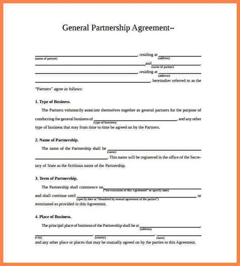 partnership agreement template australia purchase