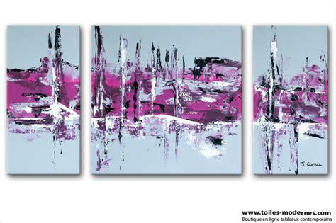 chambre gris et fushia tableau moderne triptyque abstrait gris violet rectangle