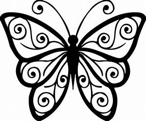 Butterfly clipart outline png - Pencil and in color ...