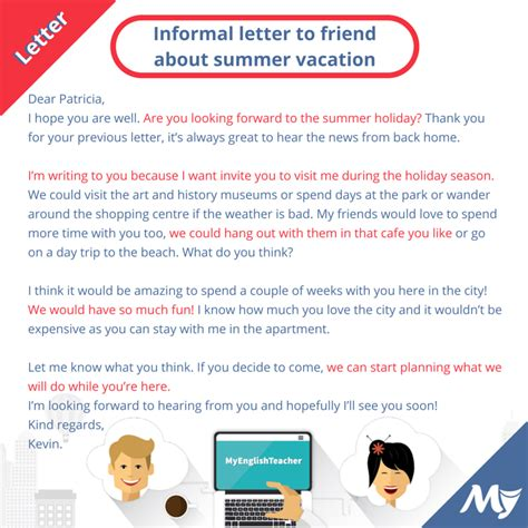 informal letter  friend  summer vacation