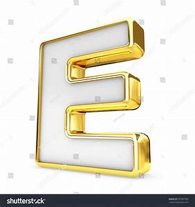 3d gold white letter e isolated stock illustration With gold and white letters